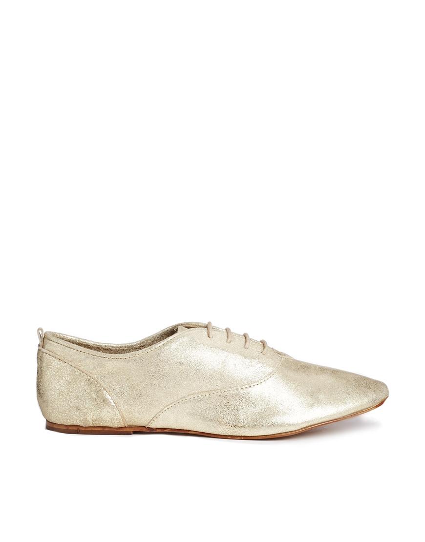 Lyst - Mango Metallic Lace Up Brogue Flat Shoes In Metallic