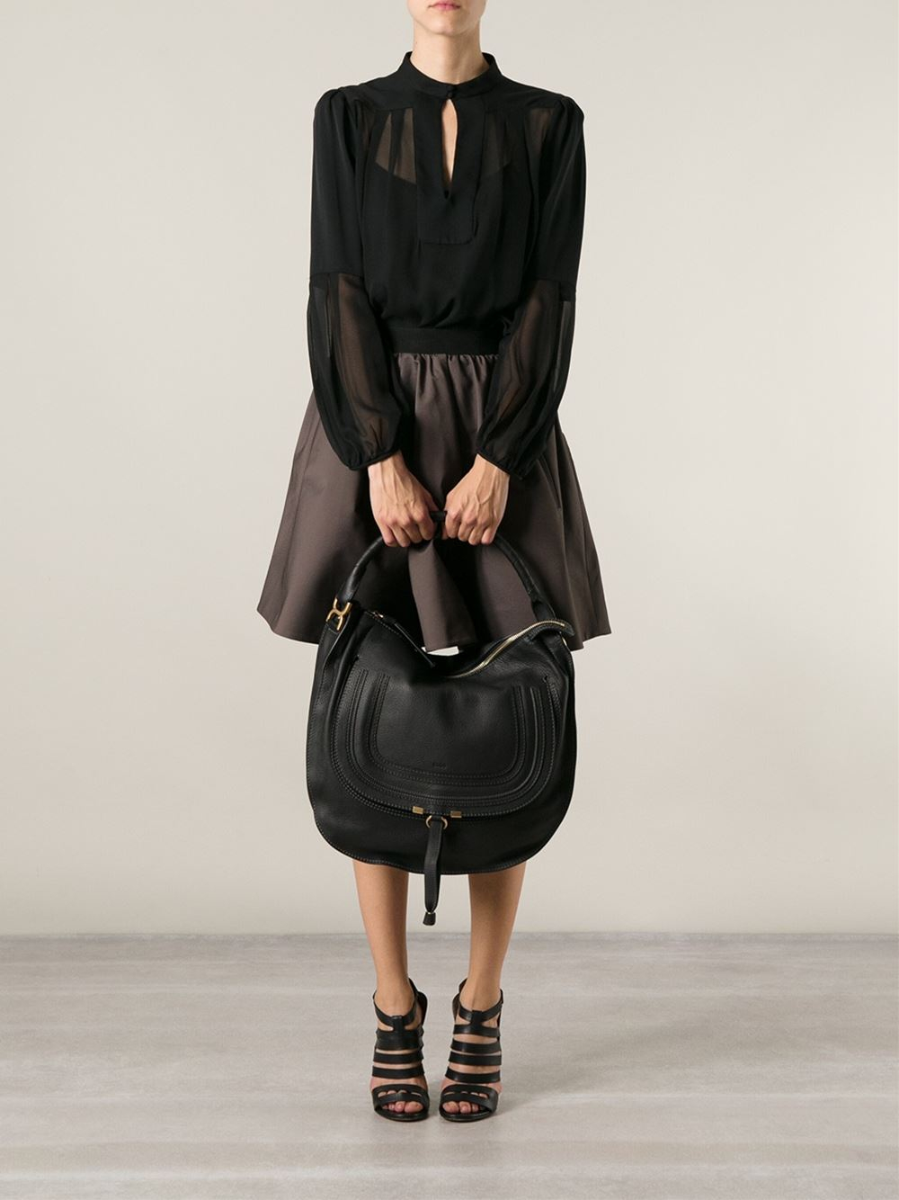 7c6b71a7c Chloé Marcie Hobo Bag in Black - Lyst
