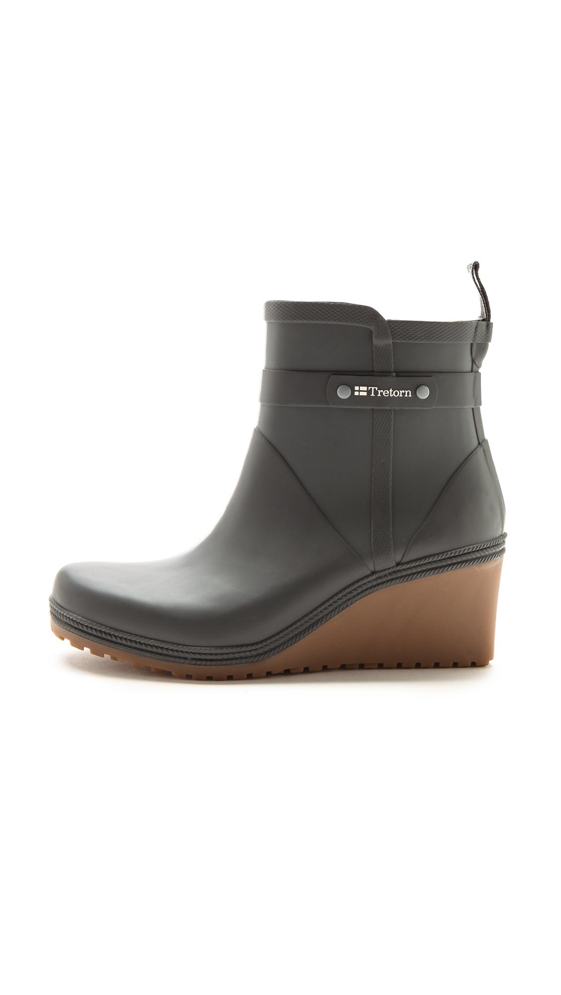 Tretorn Plask Mid Wedge Rain Boots - Gunmetal in Metallic | Lyst