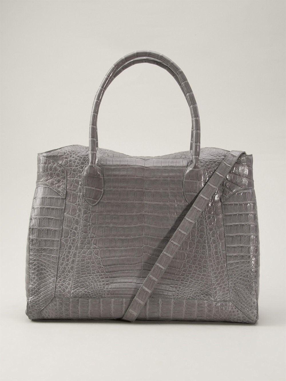 Nancy gonzalez crocodile leather tote in gray black lyst for Nancy gonzalez crocodile tote