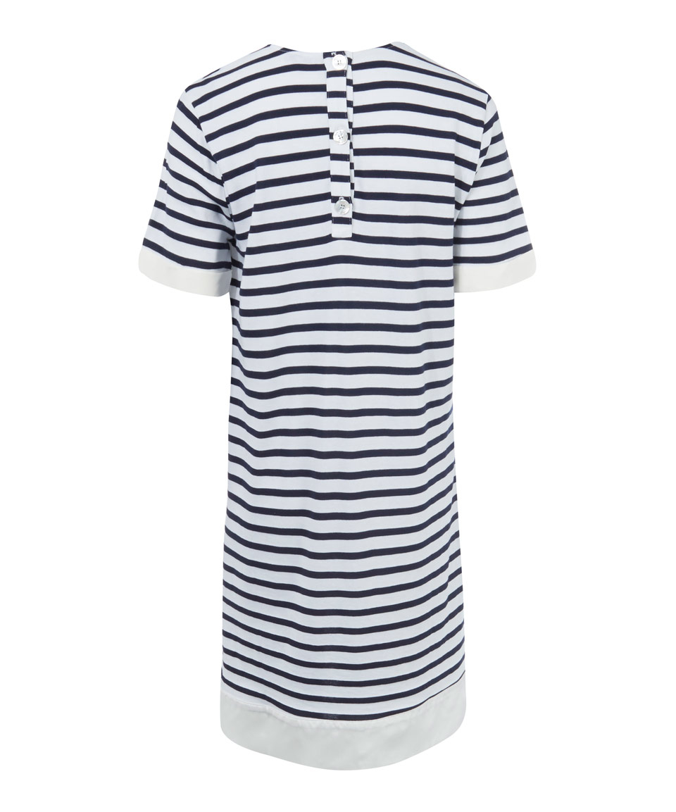 Clu navy striped shirt dress in blue lyst for Navy striped dress shirt
