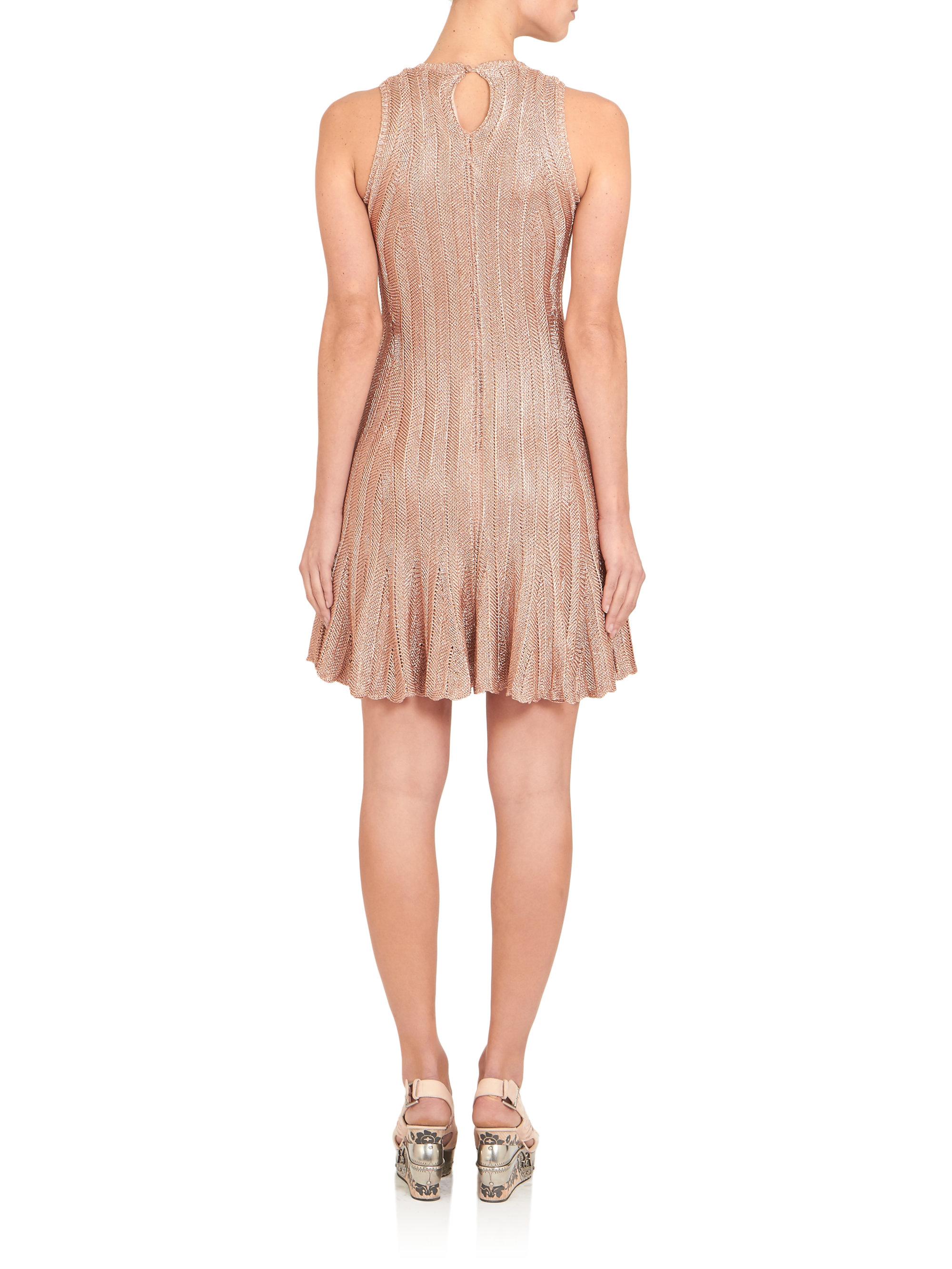 Alexander mcqueen Metallic Knit Dress in Pink | Lyst