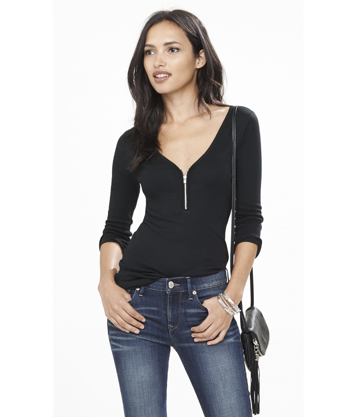 Lyst express zip front three quarter length sleeve tee for Three quarter length shirt