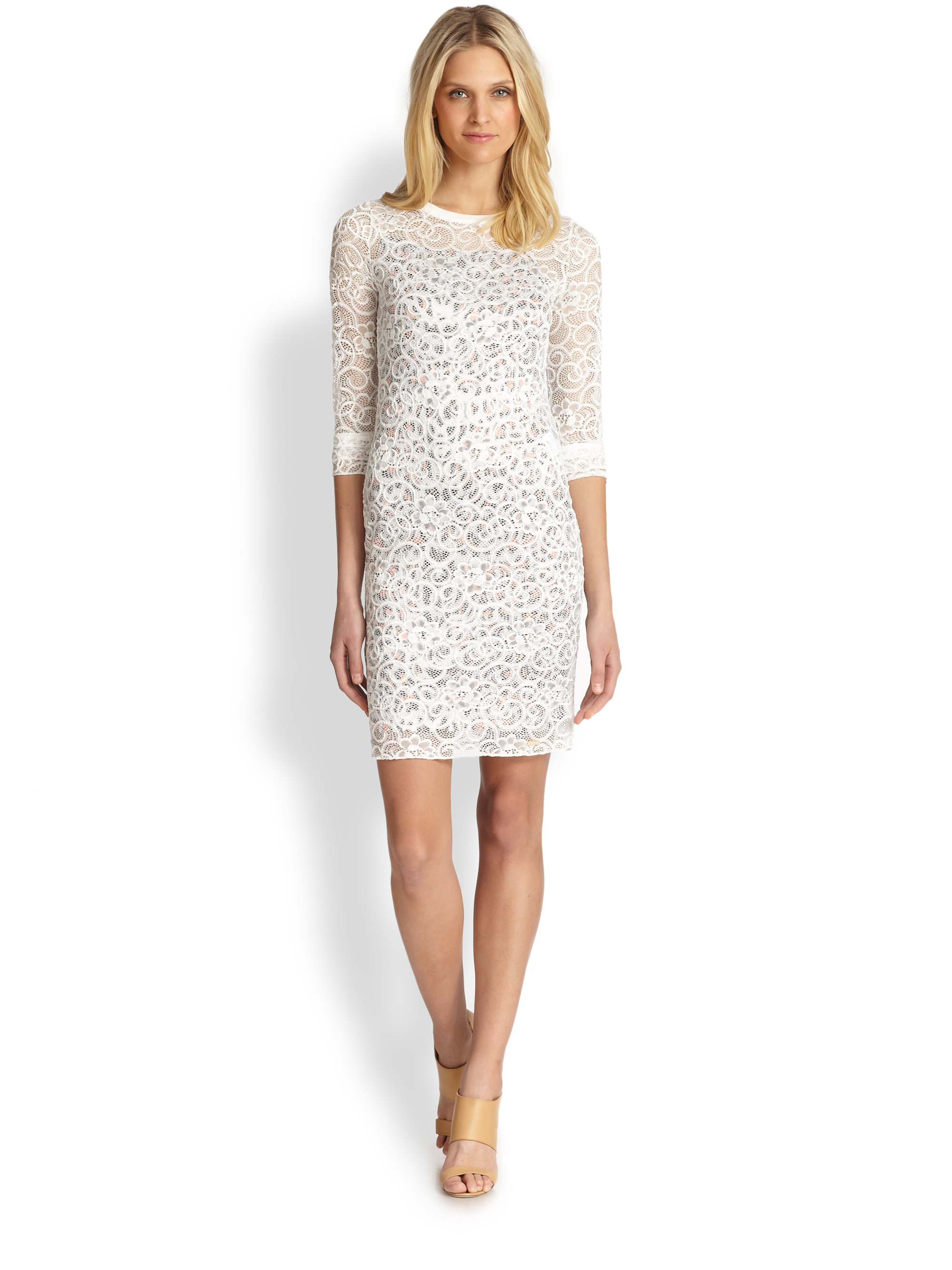 Just cavalli embroidered lace dress in white lyst