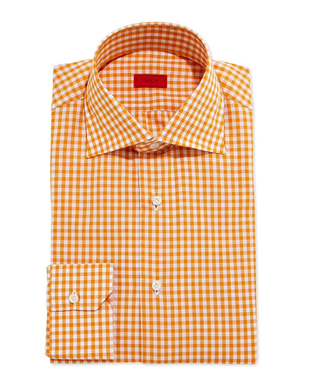 Isaia gingham dress shirt in orange for men lyst for Mens yellow gingham shirt