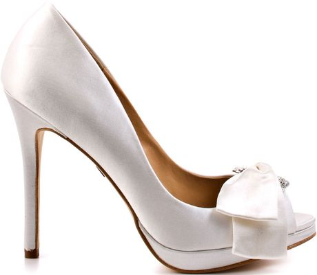 Badgley Mischka Gylda - White Satin in White