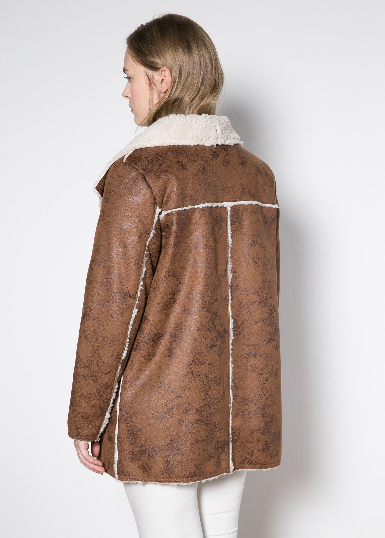 Violeta by mango Faux Shearling-Lined Coat in Brown | Lyst