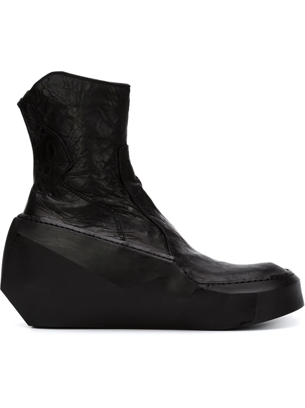 Lyst Julius Geometric Heel Zipped Boots In Black For Men