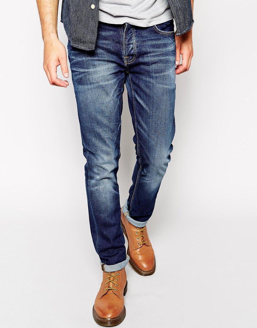lyst nudie jeans grim tim slim fit stretch cold crisp in. Black Bedroom Furniture Sets. Home Design Ideas