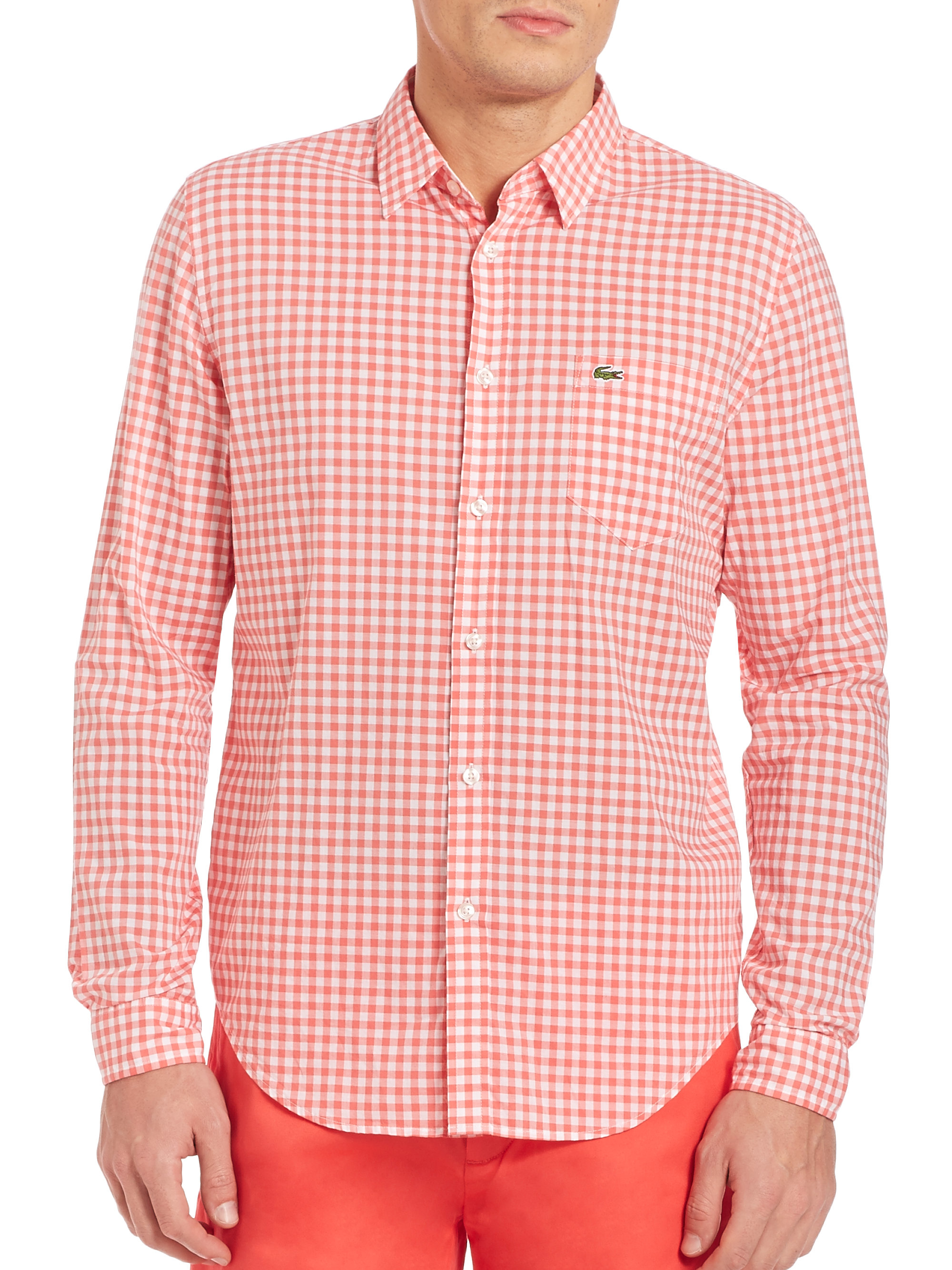 Lacoste long sleeve gingham checked shirt in pink for men for Pink gingham shirt ladies