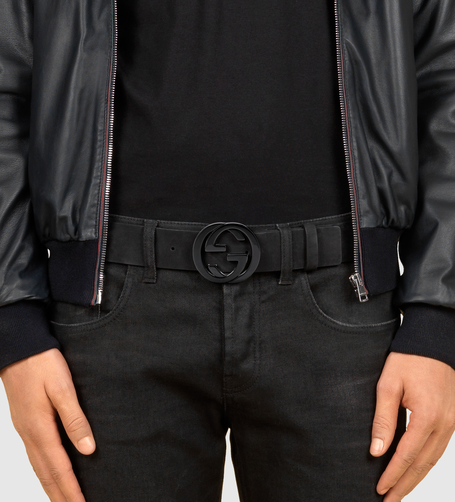 f77261f08 Gucci Black Suede Belt With Interlocking G Buckle in Black for Men ...
