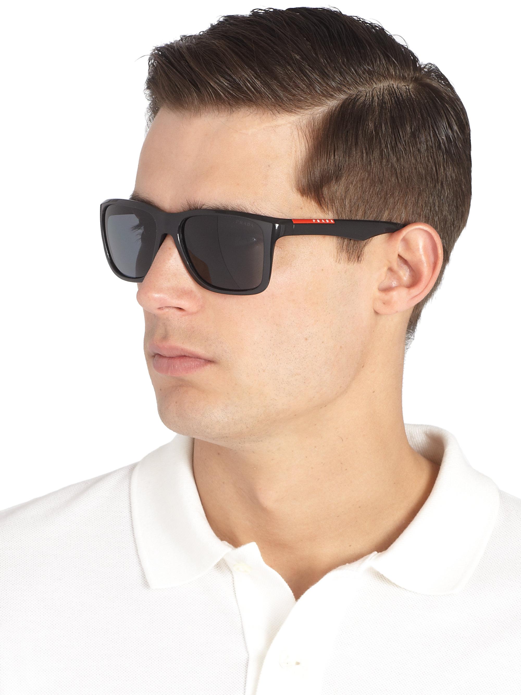 3610c32e668 ... uk lyst prada square aviator sunglasses in black for men e1f41 4e0f9