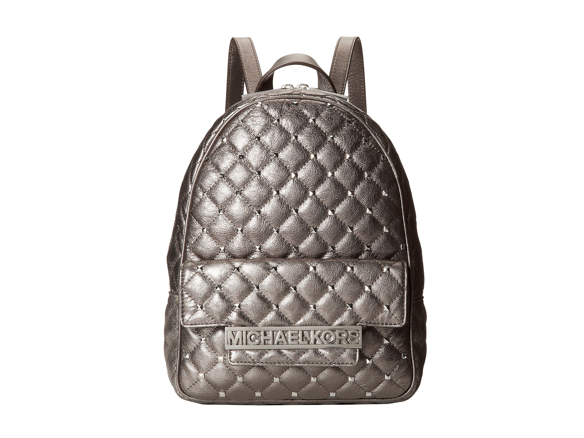 4a23388af08362 ... 50% off lyst michael michael kors kim studded medium backpack in  metallic 98dda 4a64c ...