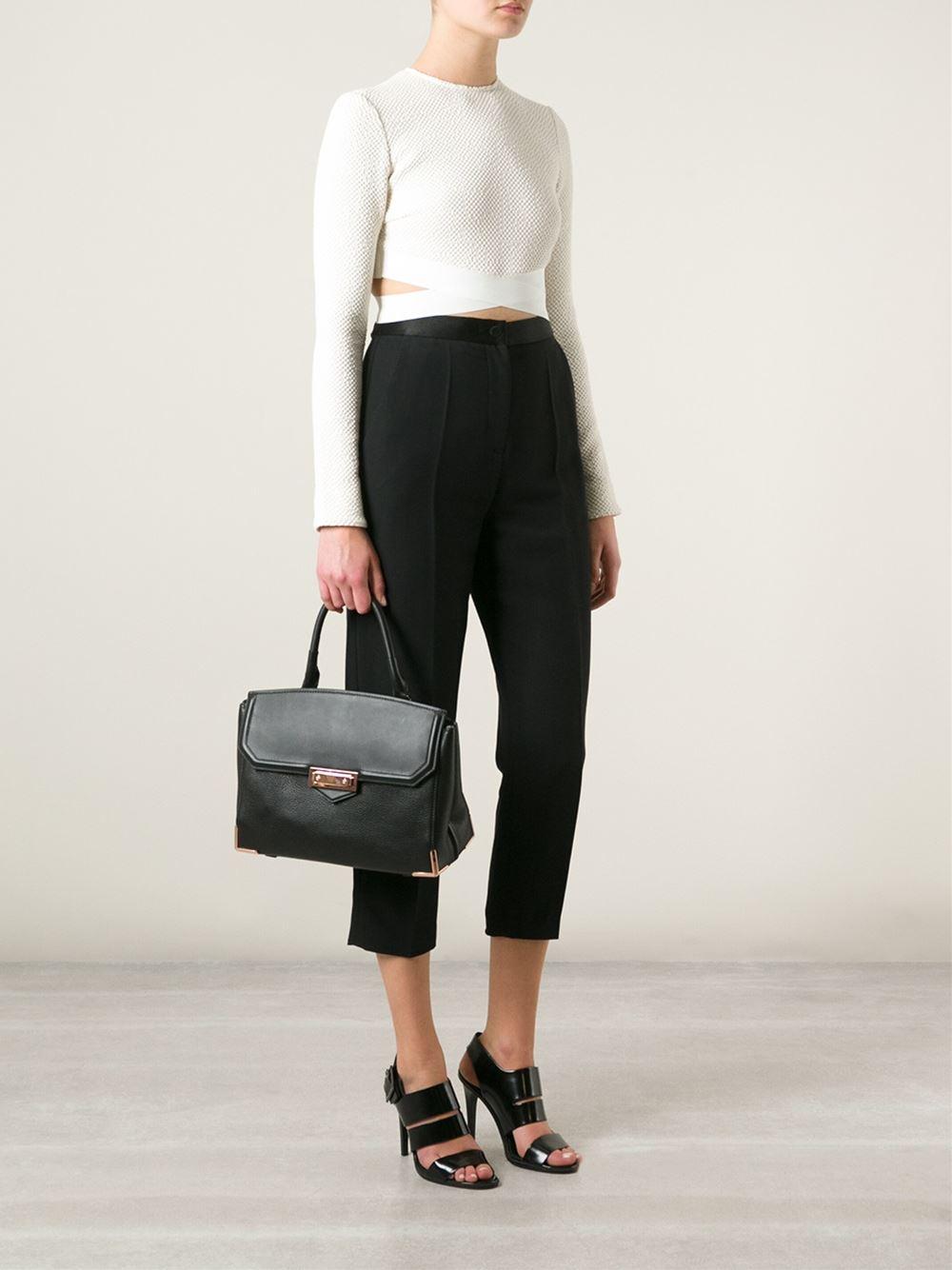 Whole Alexander Bags Marion Skeletal Large Leather Shoulder Bag In Black