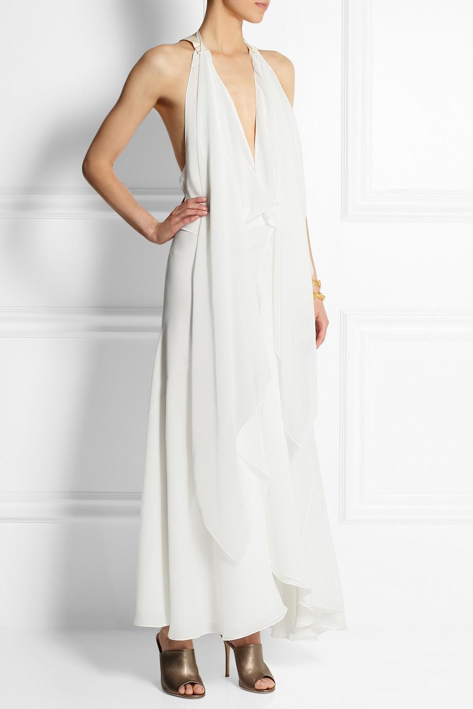 29daf99dd9 Chloé Draped Crepe Maxi Dress in White - Lyst