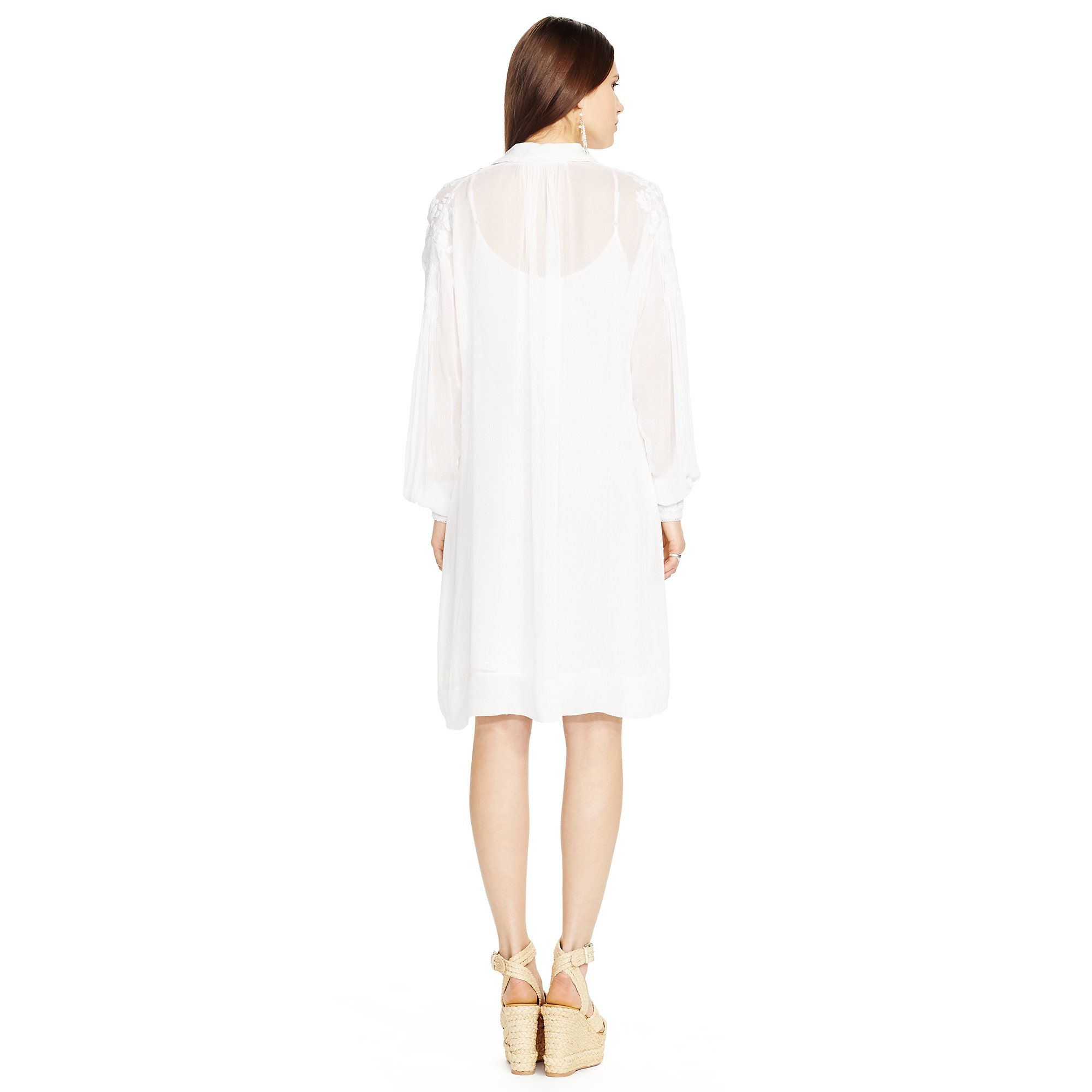 Polo ralph lauren Embroidered Long-sleeve Dress in White | Lyst