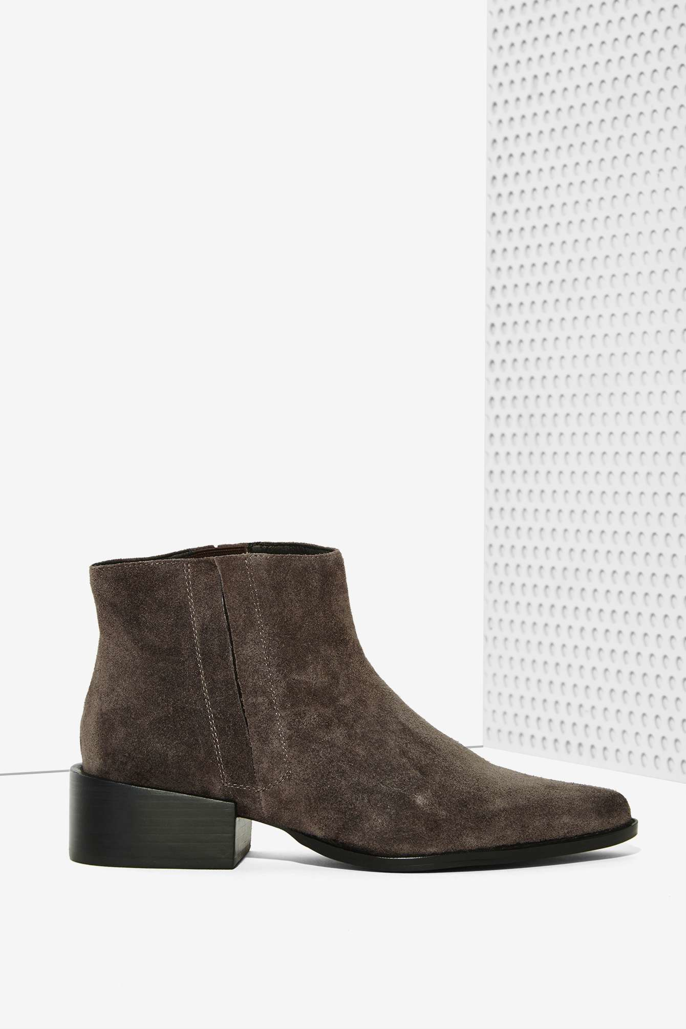 grey city west suede ankle boot in gray lyst