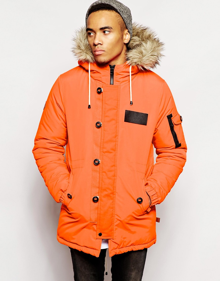 Bellfield Mountain Parka With Faux Fur Hood in Orange for Men | Lyst