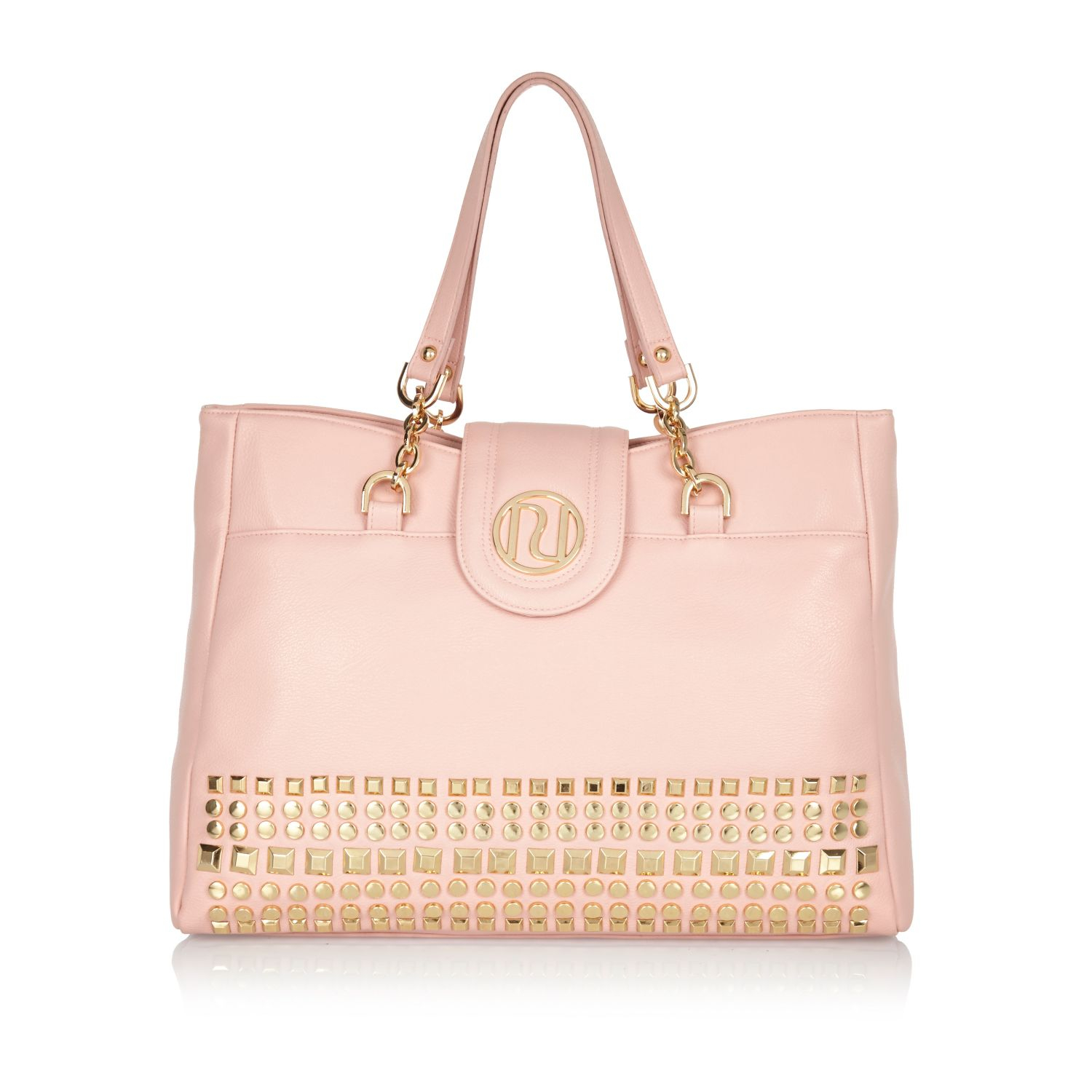 river island light pink studded tote bag in pink lyst. Black Bedroom Furniture Sets. Home Design Ideas