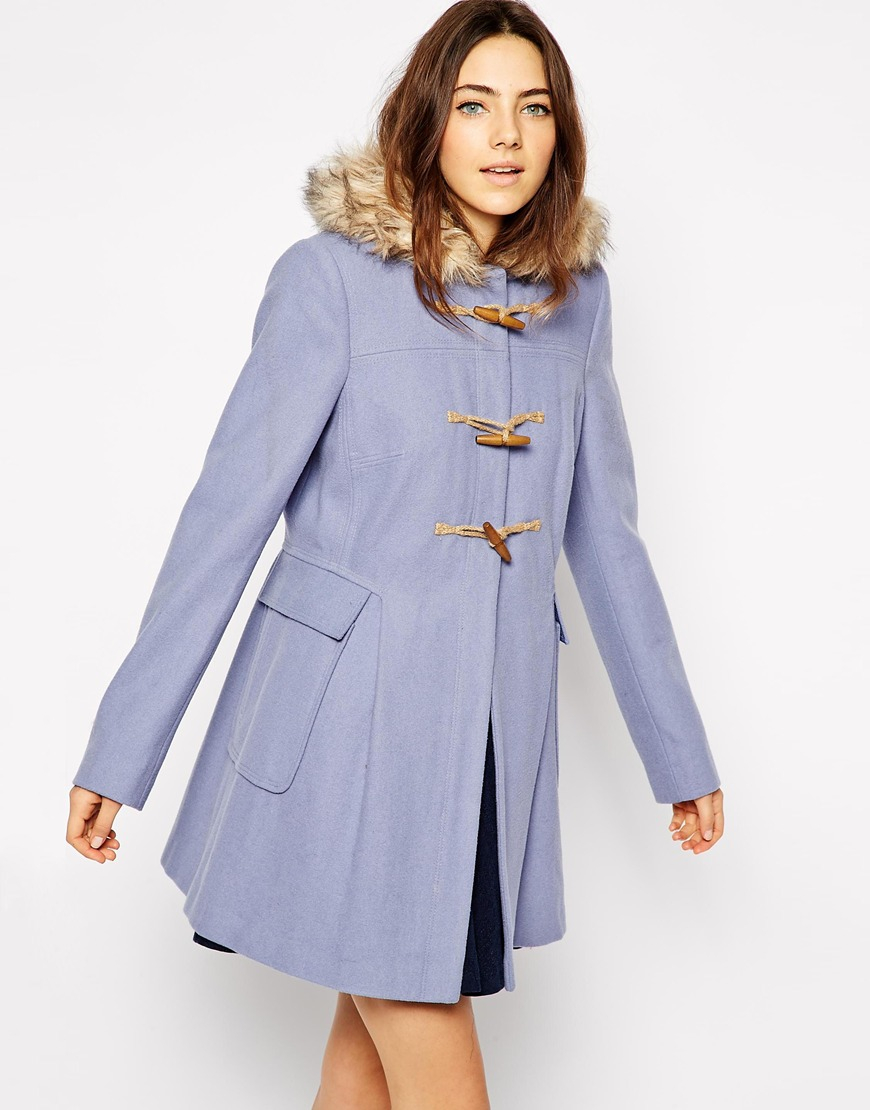 Asos Faux Fur Hooded Duffle Coat in Blue | Lyst