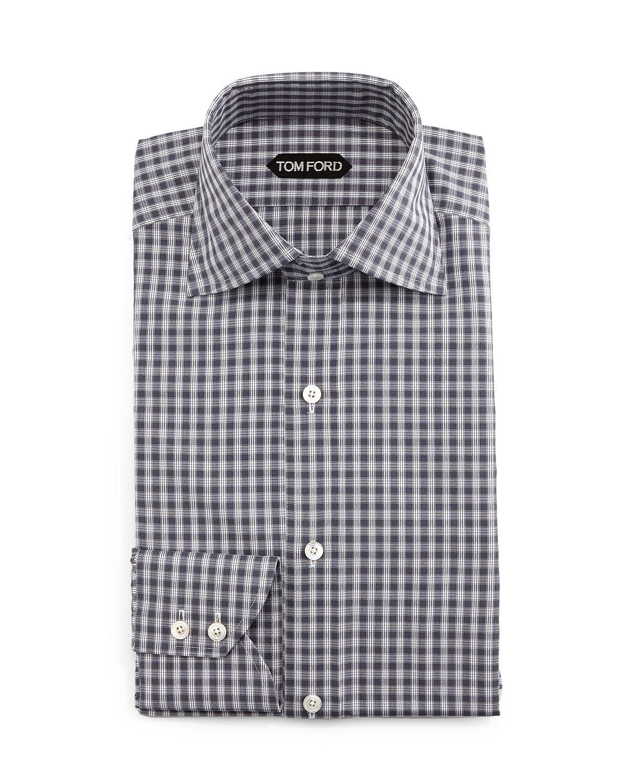 Tom ford geometrical gingham dress shirt in gray for men for Gingham dress shirt men