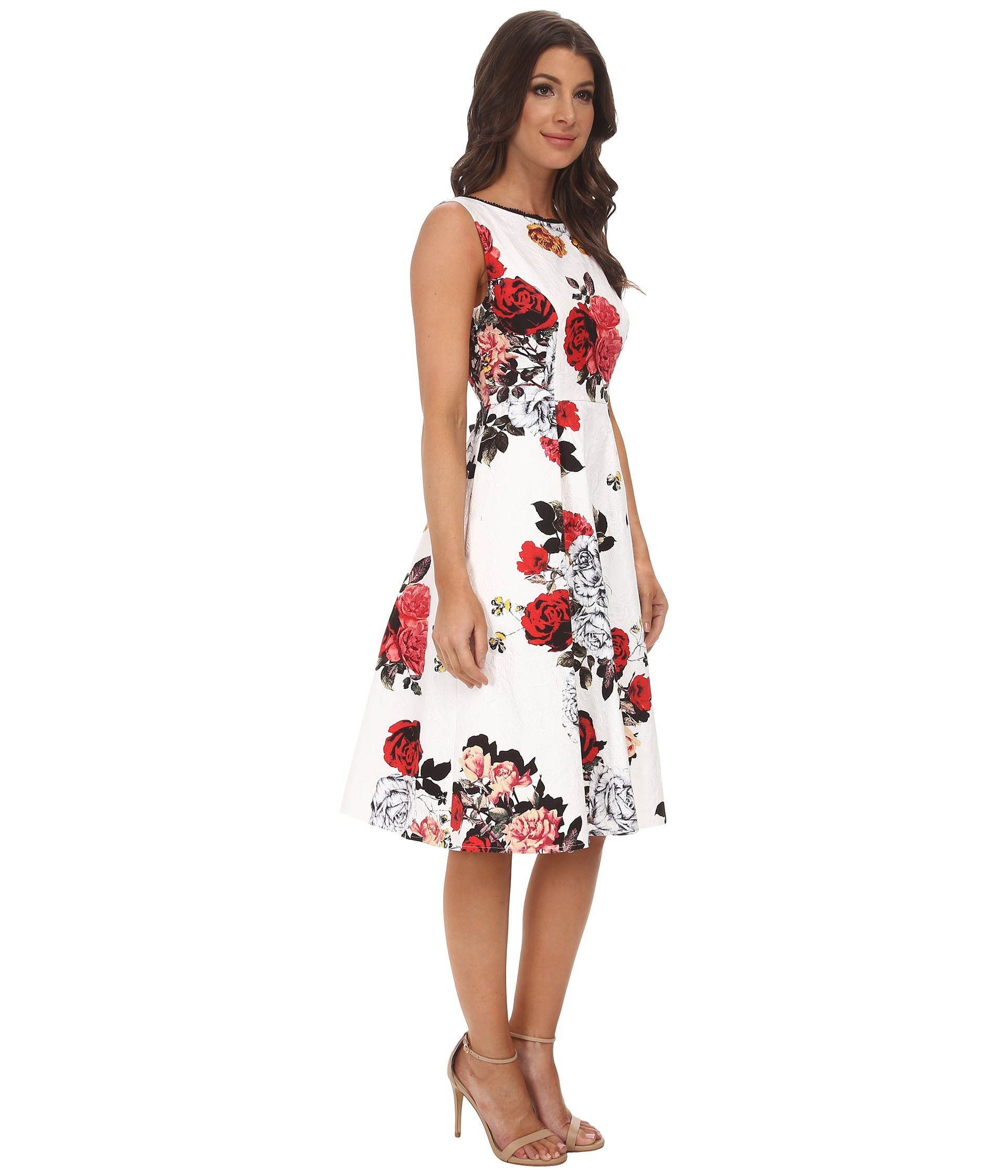 Adrianna Papell Rose Print Classic Pleat Dress In White Lyst
