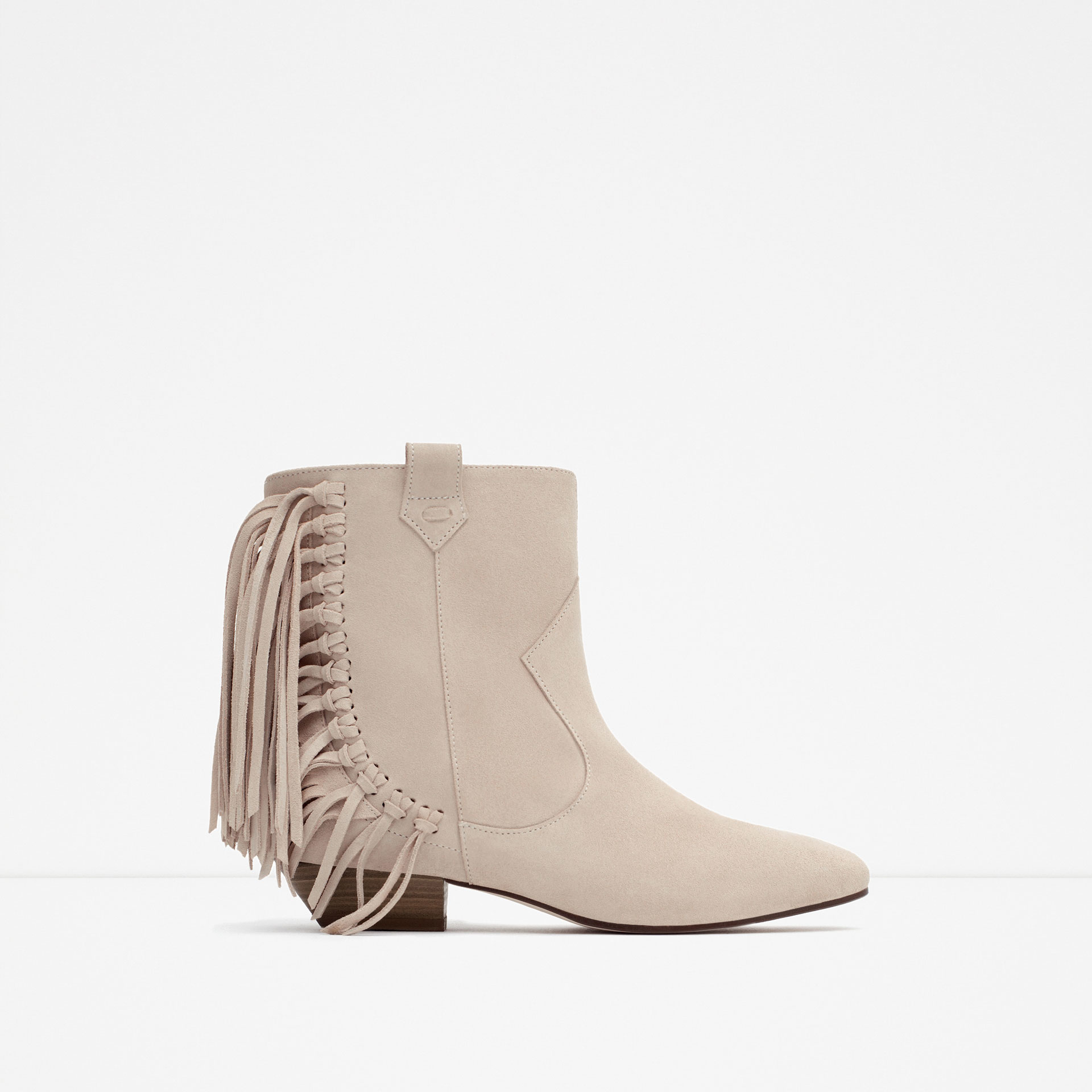 Zara Flat Leather Ankle Boots With Fringe in Natural | Lyst