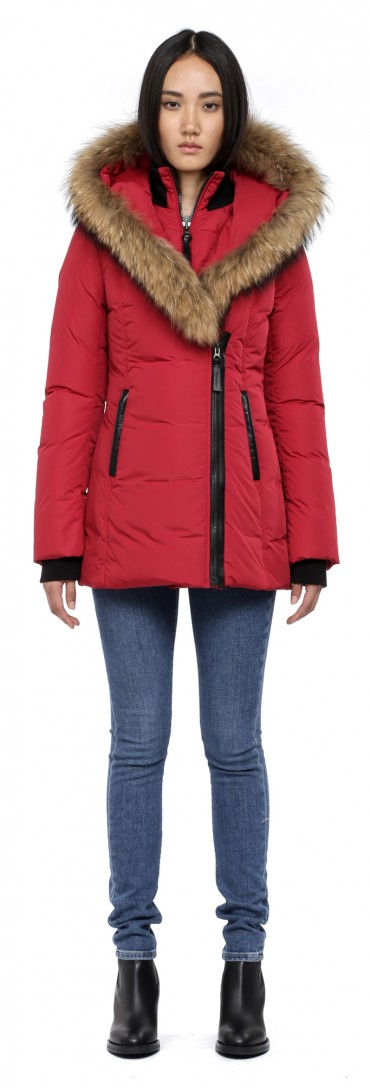 mackage burgundy fur and down lavish trish f3 coat in red