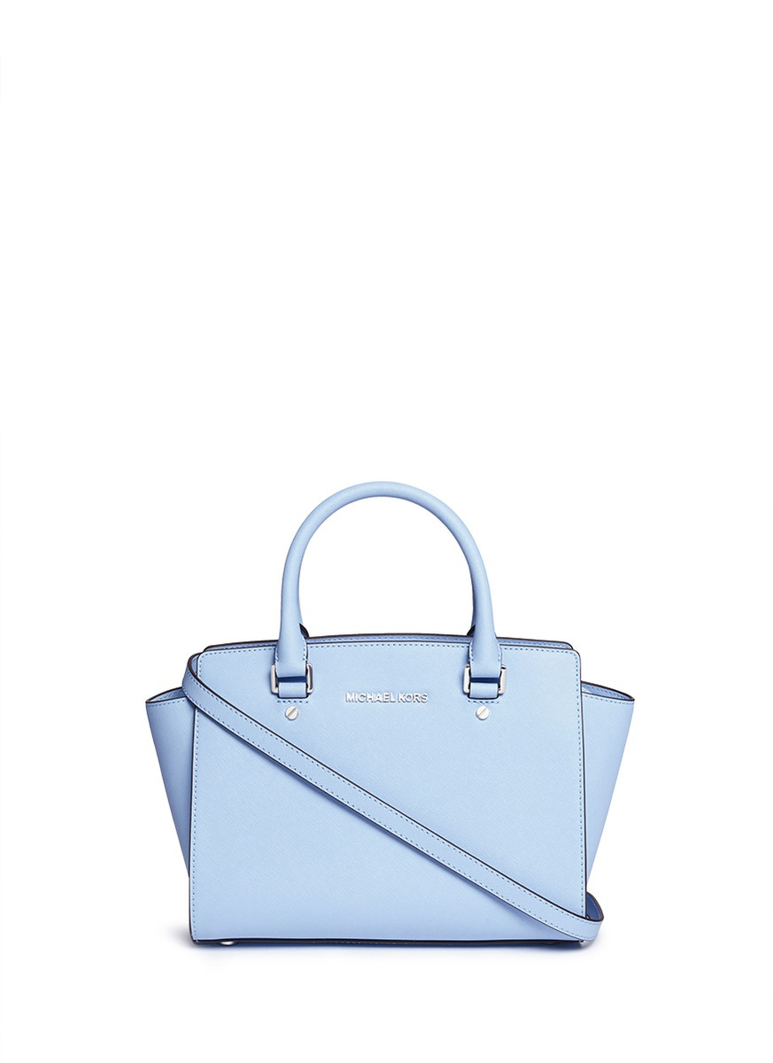 1eb6ebf7f9be ... inexpensive lyst michael kors selma medium saffiano leather satchel in  blue 2550a 21a14