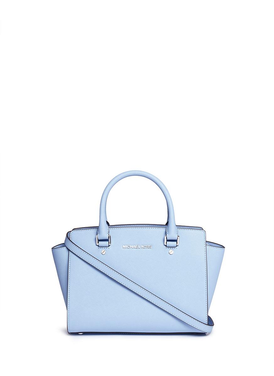63981cd4ab ... germany michael kors selma medium saffiano leather satchel in blue lyst  3a02f ee22d