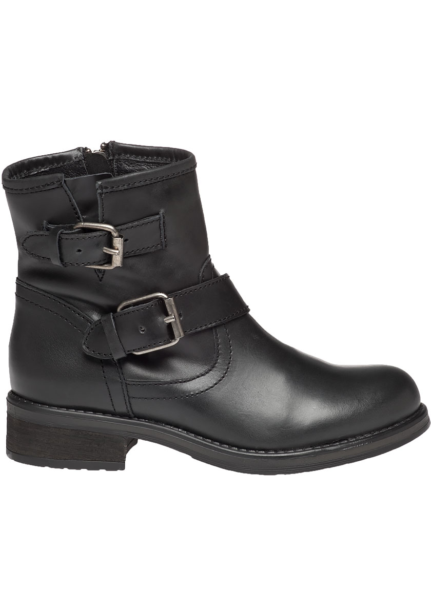 Steve madden Damiannn Leather Biker Boots in Black | Lyst