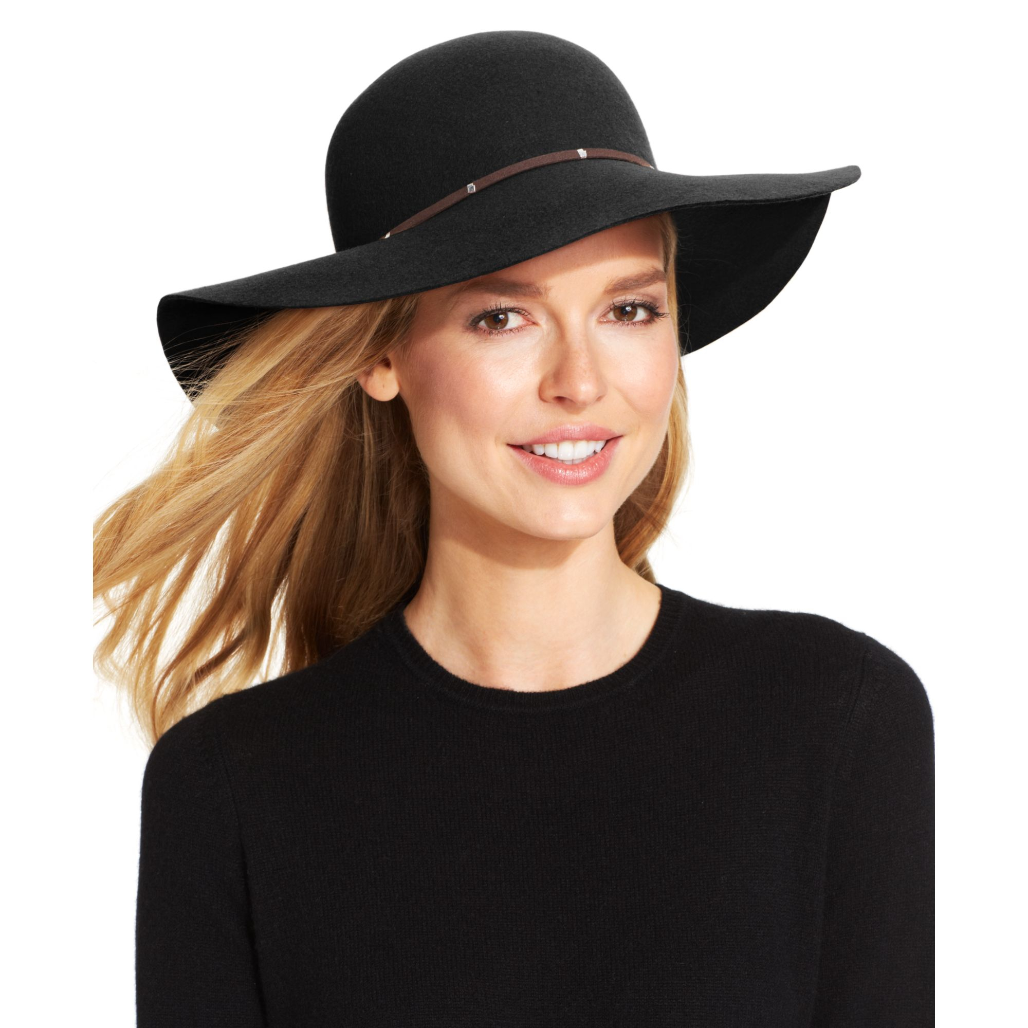 5164e5a9acb Lyst - Nine West Felt Floppy Hat with Faux Suede Metal in Black