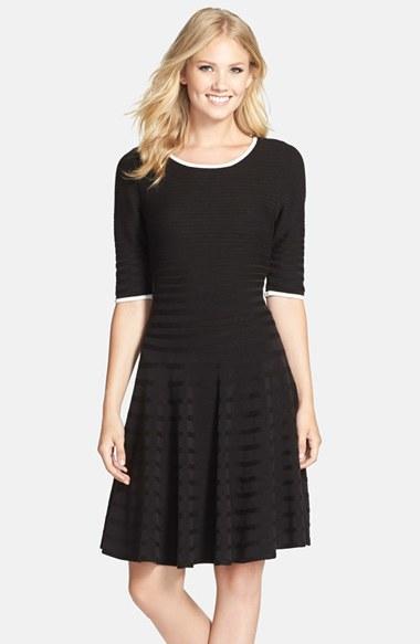 Ivanka Trump Stretch Fit Amp Flare Sweater Dress In Black Lyst