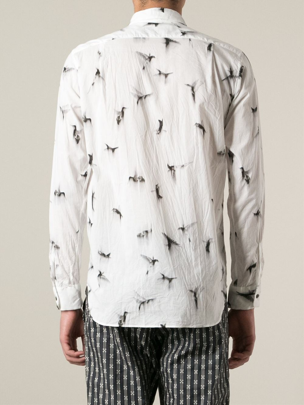Ann Demeulemeester Grise Bird Print Shirt In White For Men