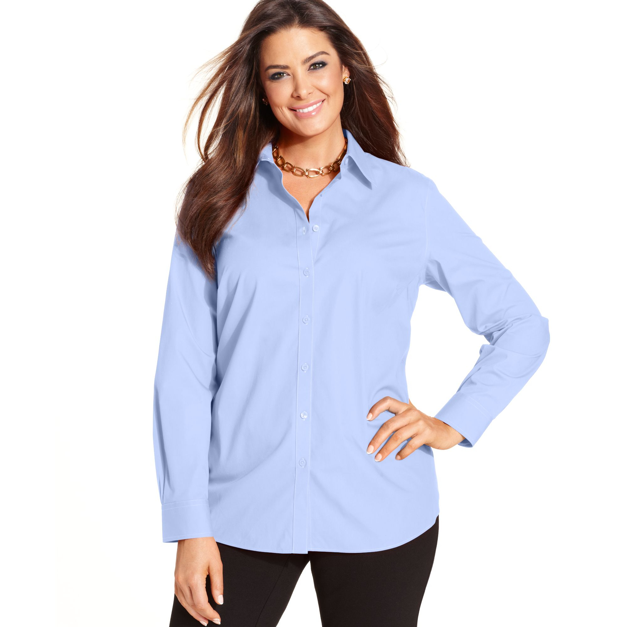 Jones new york signature plus size long sleeve shirt in for New york and company dress shirts