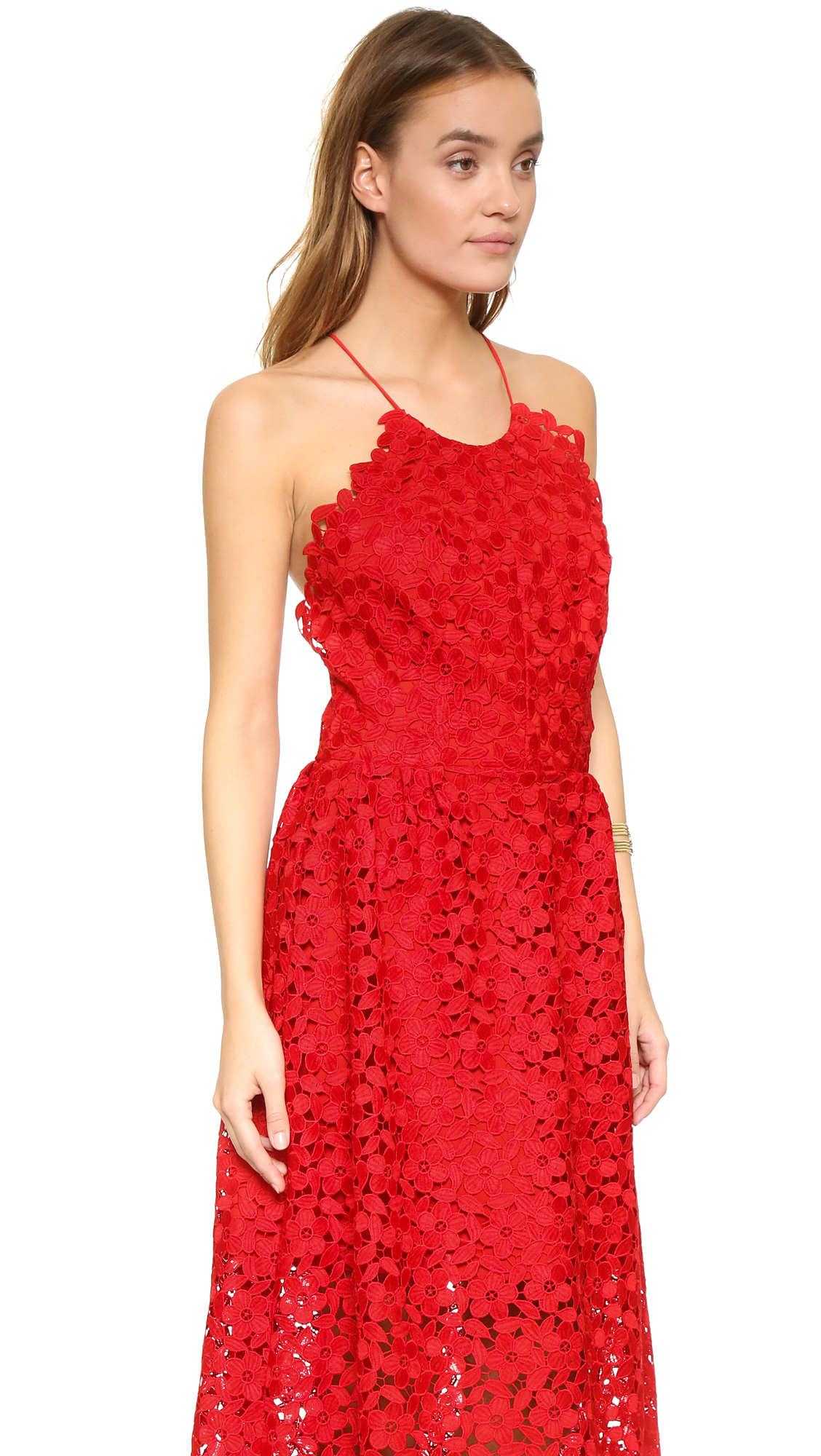 Cynthia Rowley Lace Back Dress in Red - Lyst