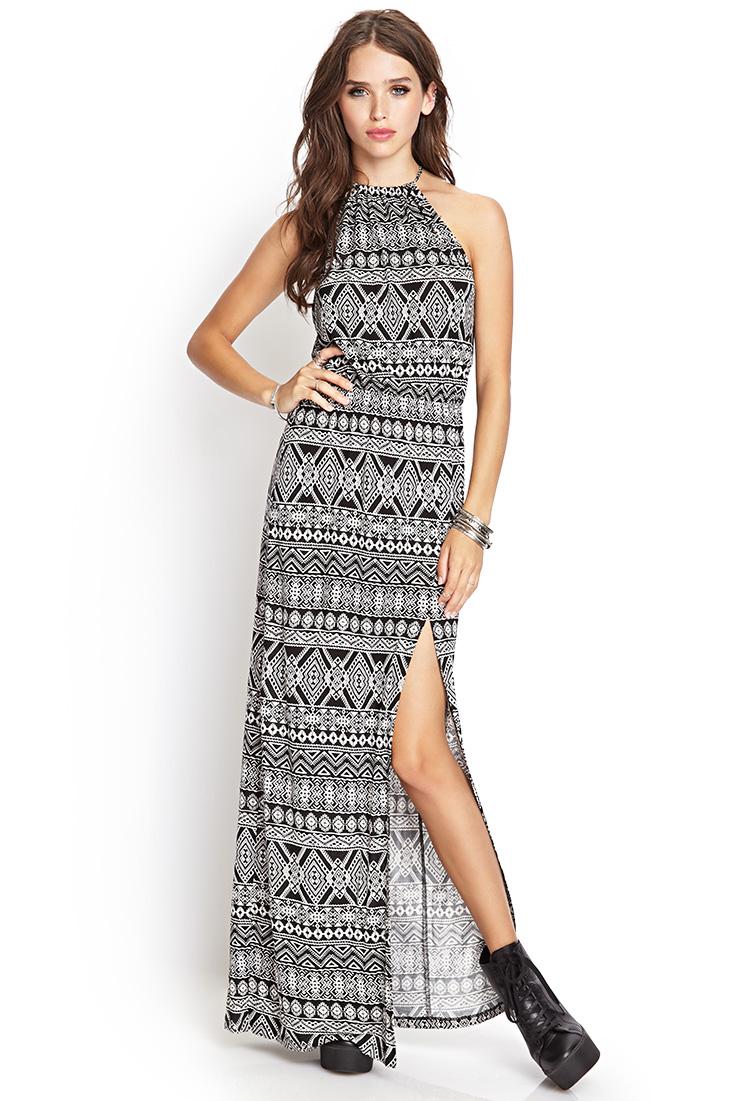 2df5d8ea8 Forever 21 Tribal Print Maxi Dress in Black - Lyst