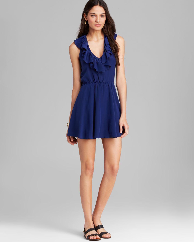 Amanda uprichard Dress Ruffle Halter Silk in Blue - Lyst