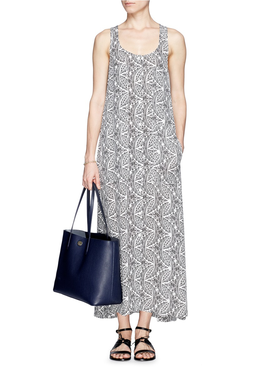 Theory 'coruna' Botanical Print Button Front Maxi Dress in Gray | Lyst