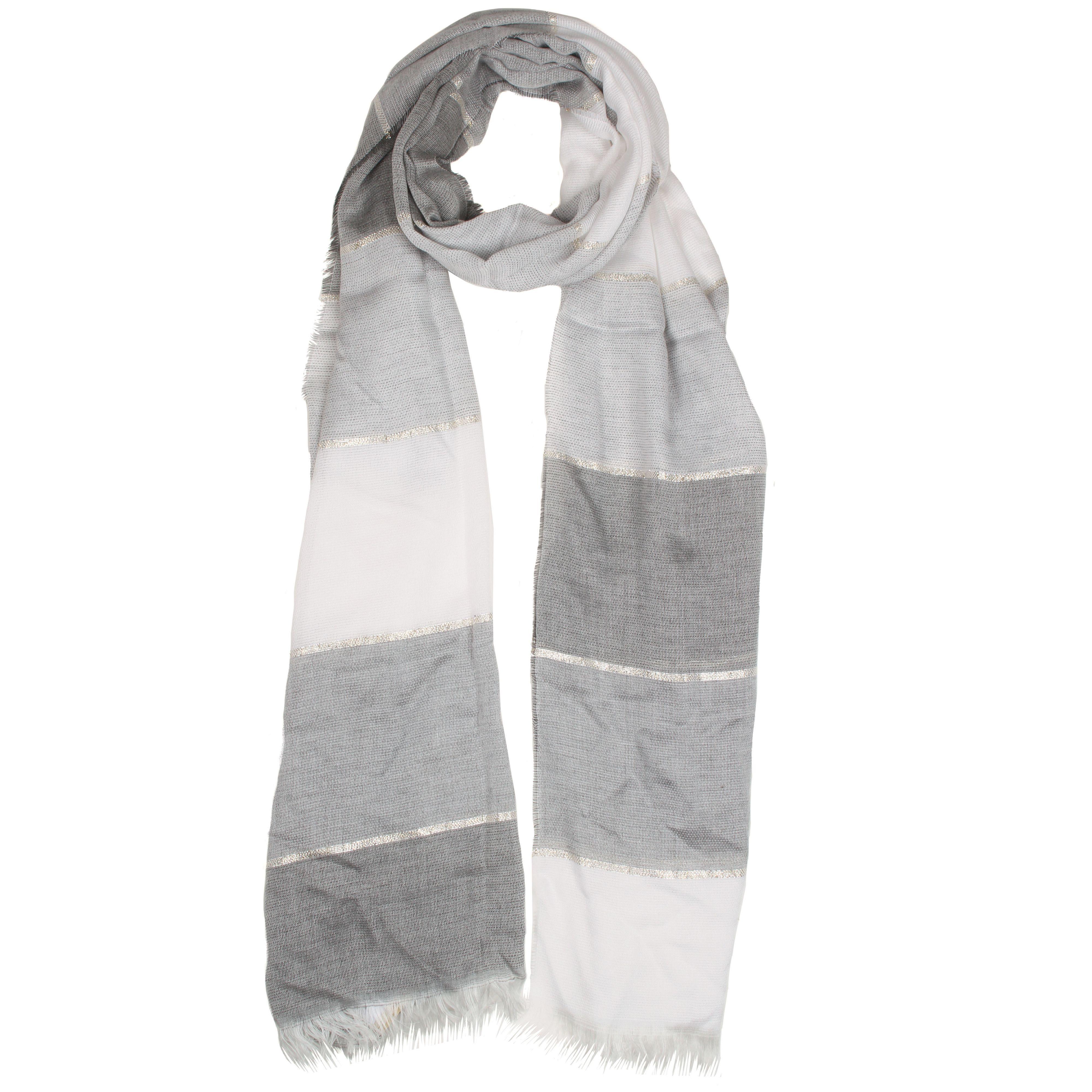 dents tonal striped woven scarf in metallic lyst