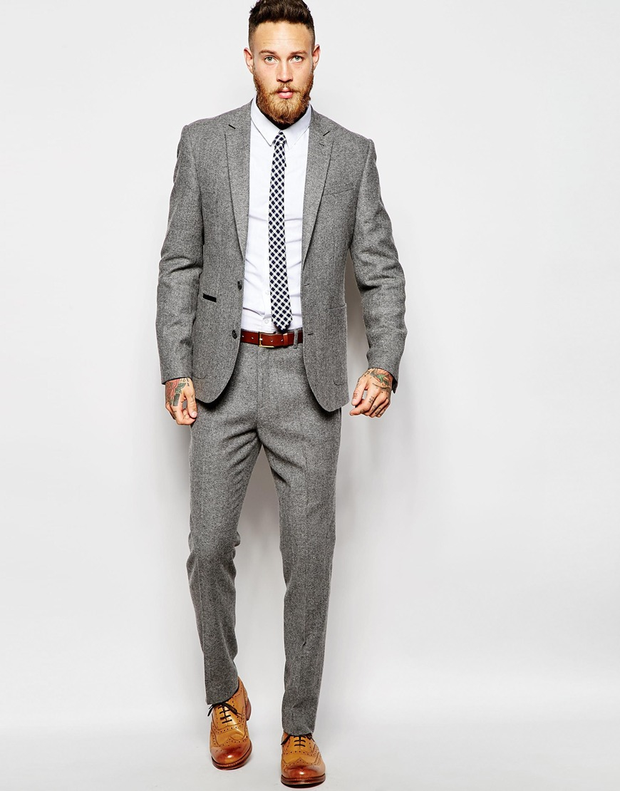 Asos Slim Suit Trousers In Tweed in Gray for Men | Lyst