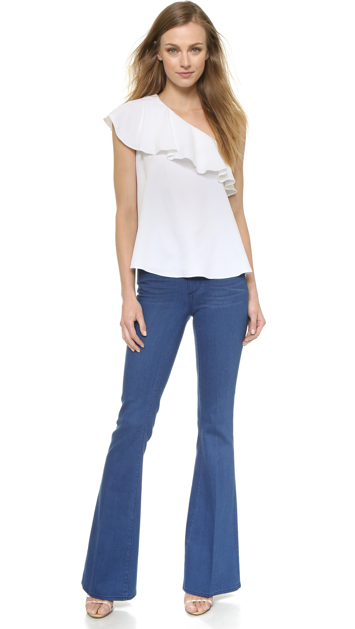767e8ea1f1dbfd Rachel Zoe Leena One Shoulder Ruffle Top - Pure White in White - Lyst