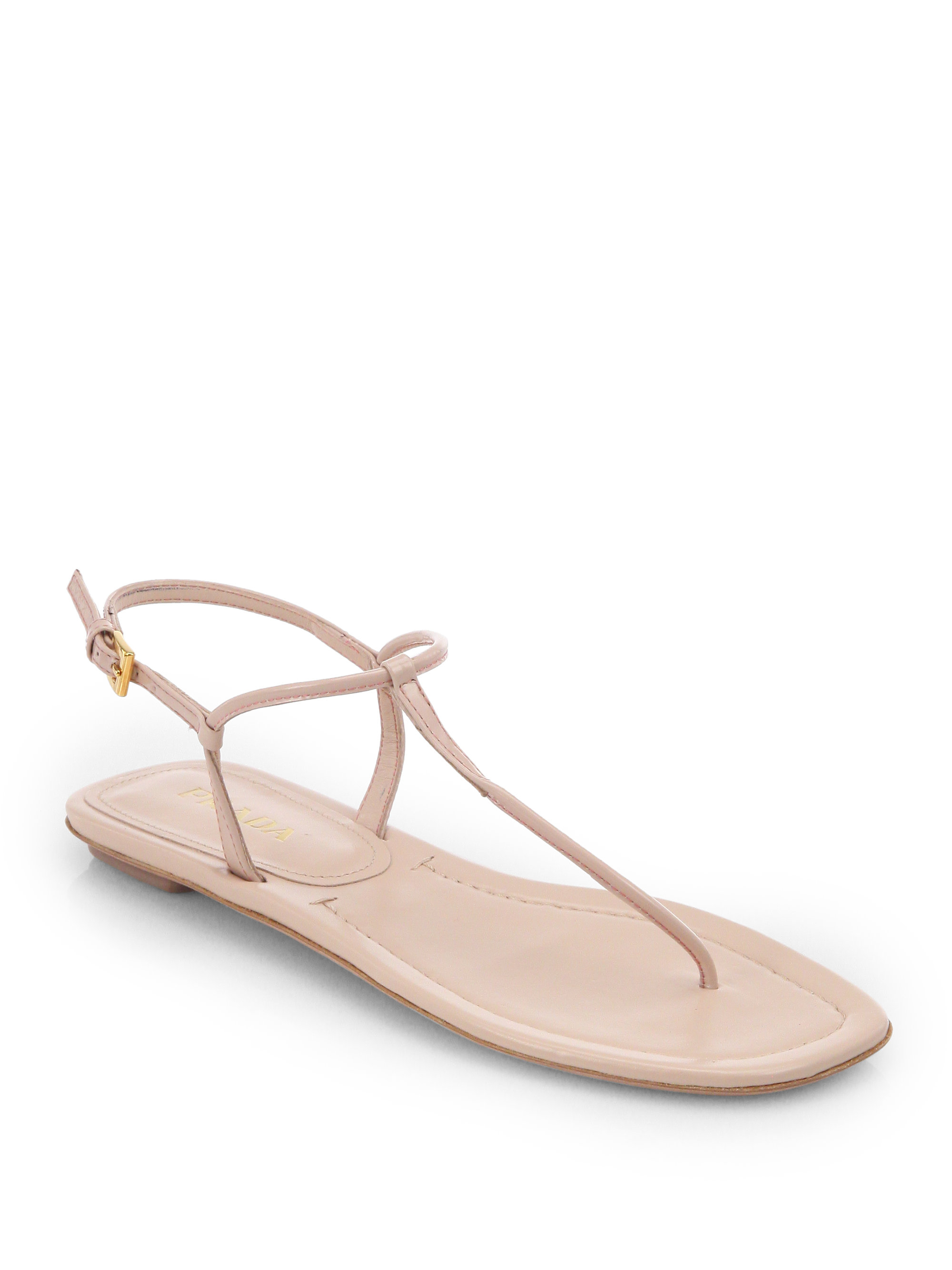 7bfbb32d4ad2ef Lyst - Prada Patent Leather Thong Sandals in Pink
