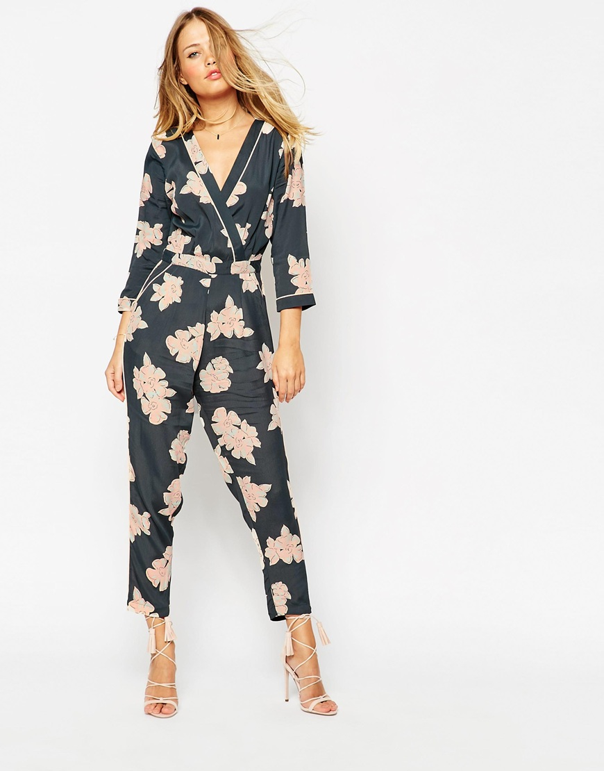 c1f72ce6c4f ASOS Floral Printed Piped Wrap Jumpsuit - Lyst