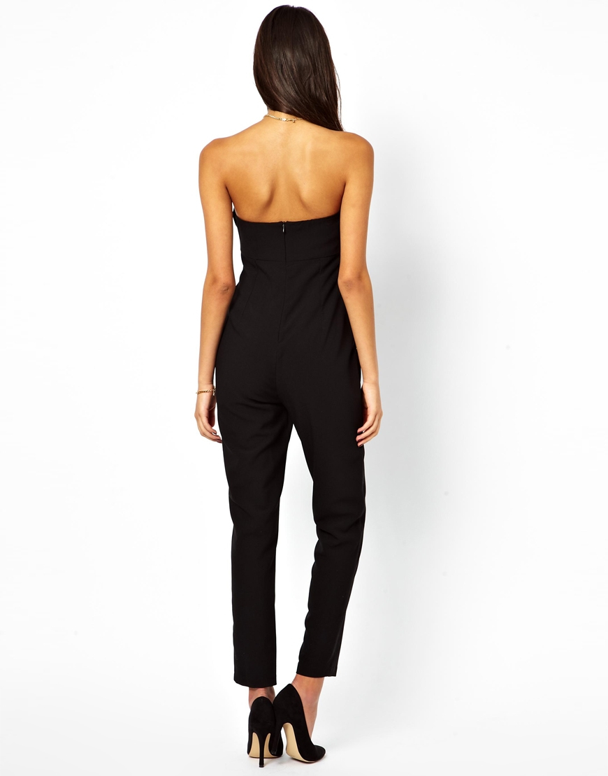 Asos Bandeau Jumpsuit In Black Lyst