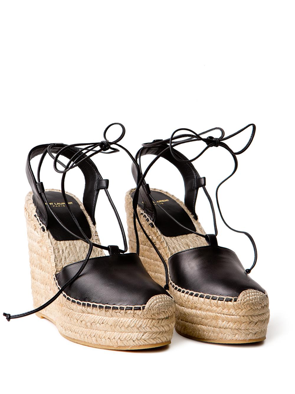 2fdb70a1409 Saint Laurent Leather Wedge Espadrilles in Black - Lyst