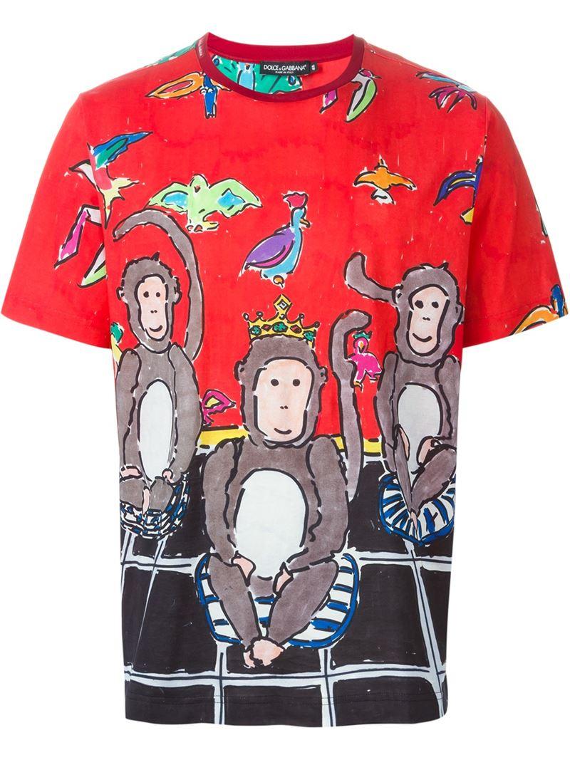 dolce gabbana monkey print t shirt in black for men lyst. Black Bedroom Furniture Sets. Home Design Ideas