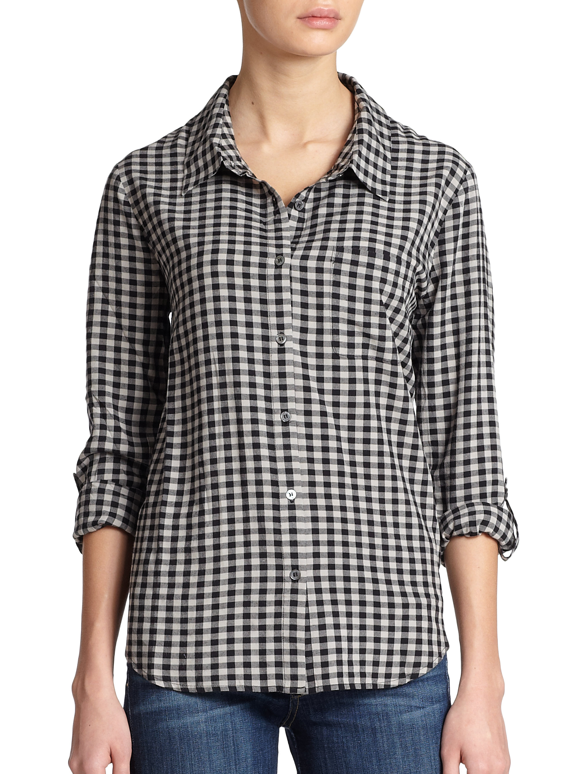Lyst soft joie anabella plaid shirt in black for Soft joie plaid shirt