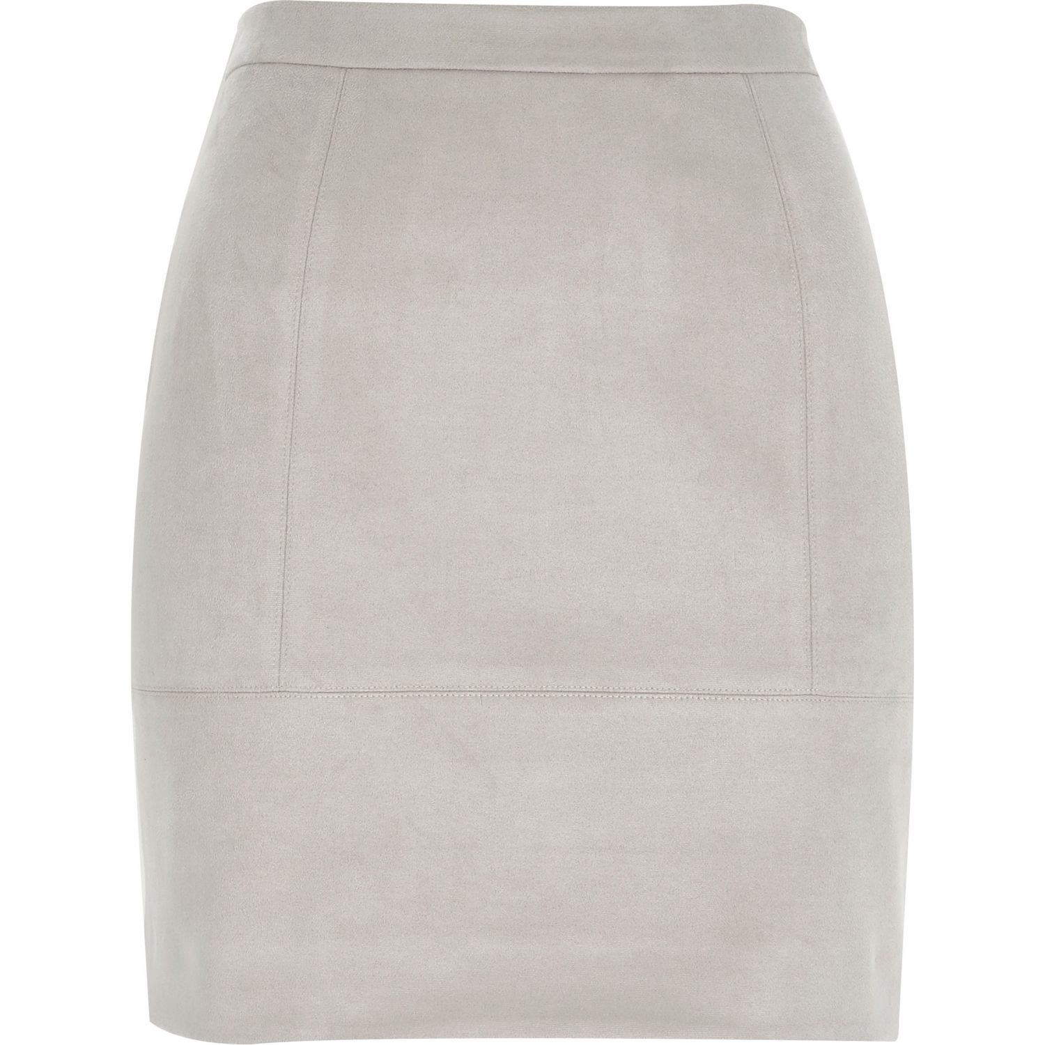 River island Grey Faux Suede A-line Skirt in Gray | Lyst