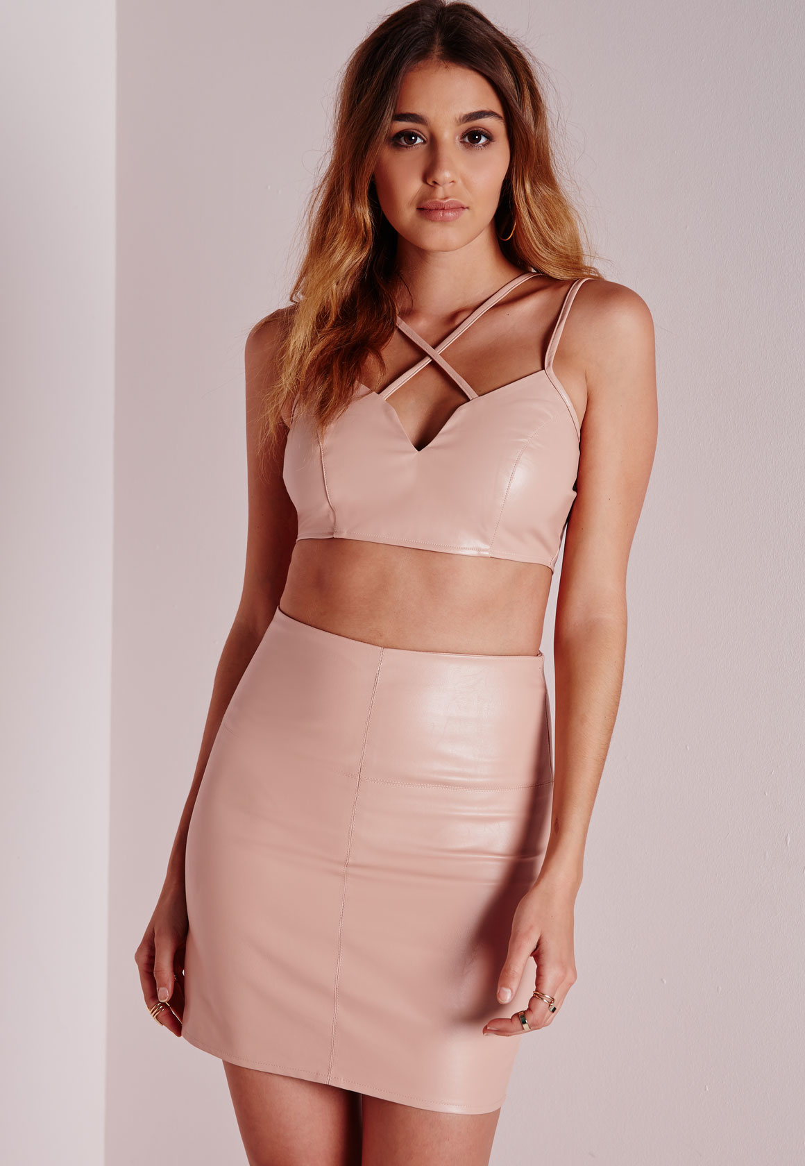 Missguided Petite Faux Leather Mini Skirt Nude in Pink | Lyst